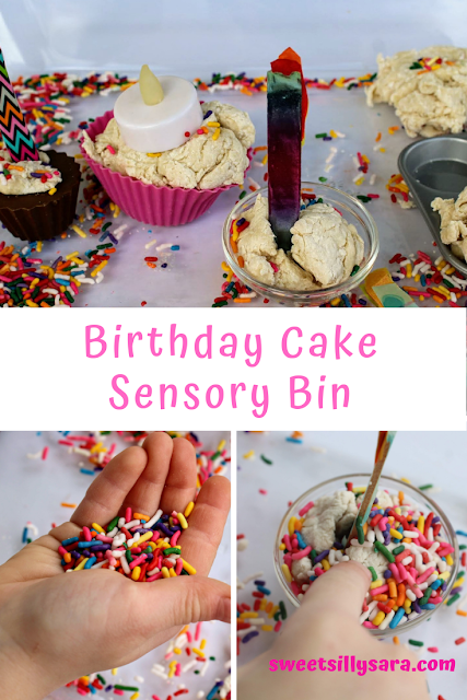 birthday cake play doh sensory bin