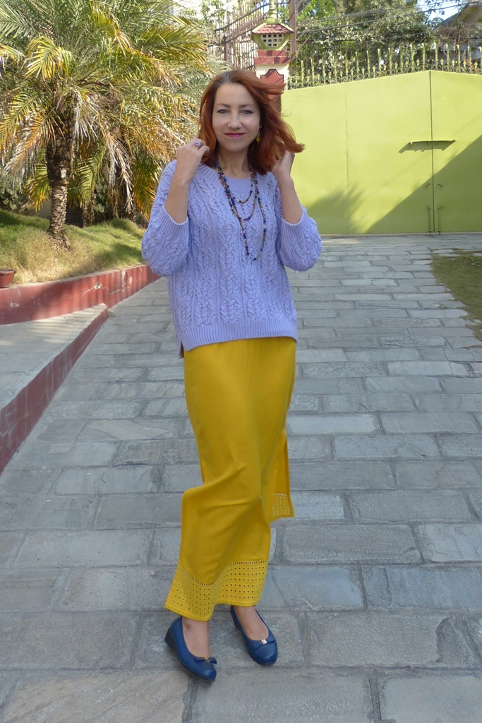 Cotton lilac sweater, yellow maxi skirt, blue flats and multi-stone necklace