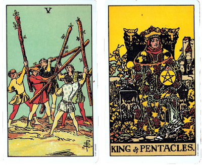 Original Rider Waite Five of Wands King of Pentacles