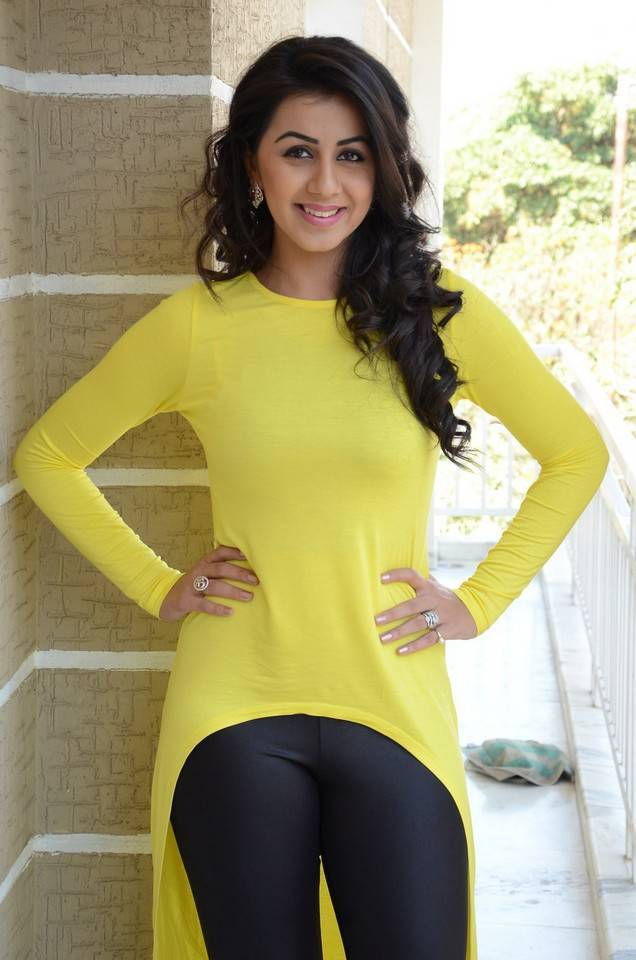 South Indian Hot Girl Nikki Galrani In Lemon Yellow Top Black Pant