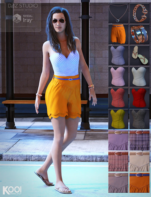 Lovely Summer Outfit and Jewelry for Genesis 3 Female