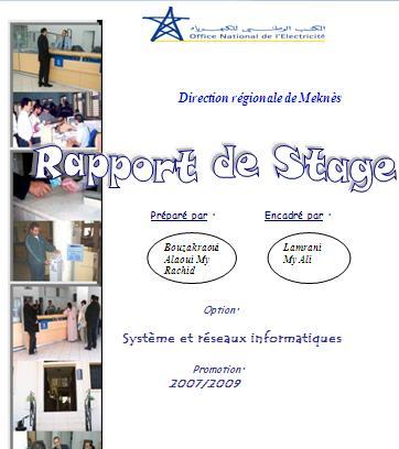 Rapport De Stage One Office Nationale De L Electricite Systeme Et