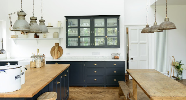 Classic English country kitchen with lofty ceiling - found on Hello Lovely Studio