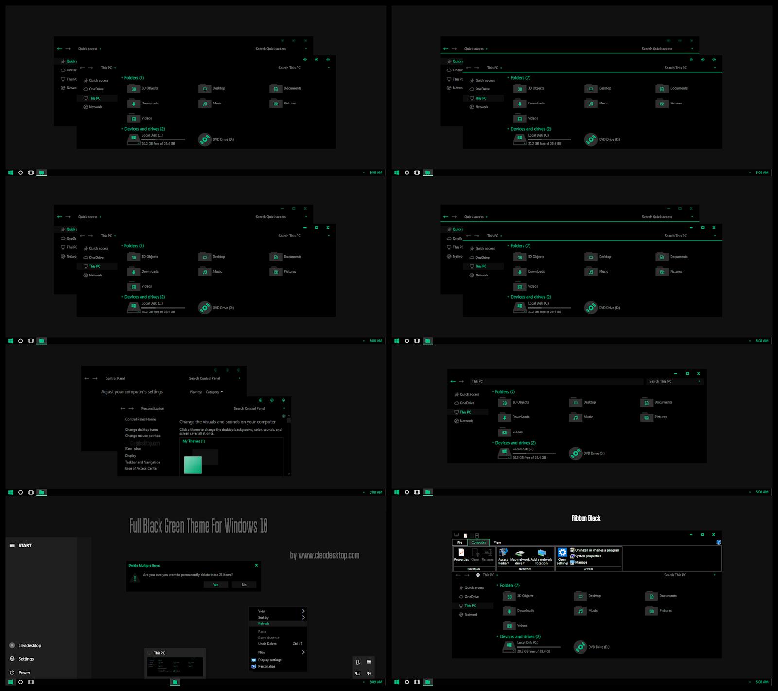 Full Black Green Theme Windows10 October 2018 Update 1809