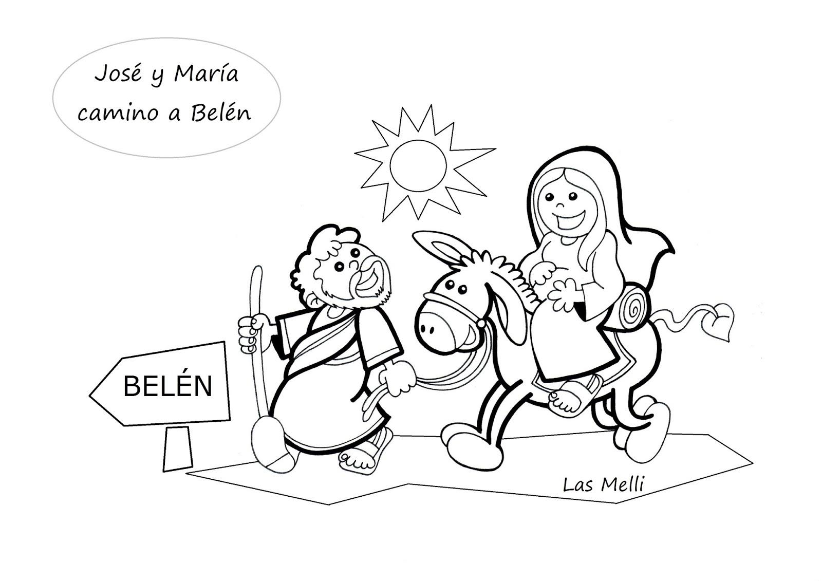 El Rincon De Las Melli Dibujo Jose Y Maria Camino A Belen