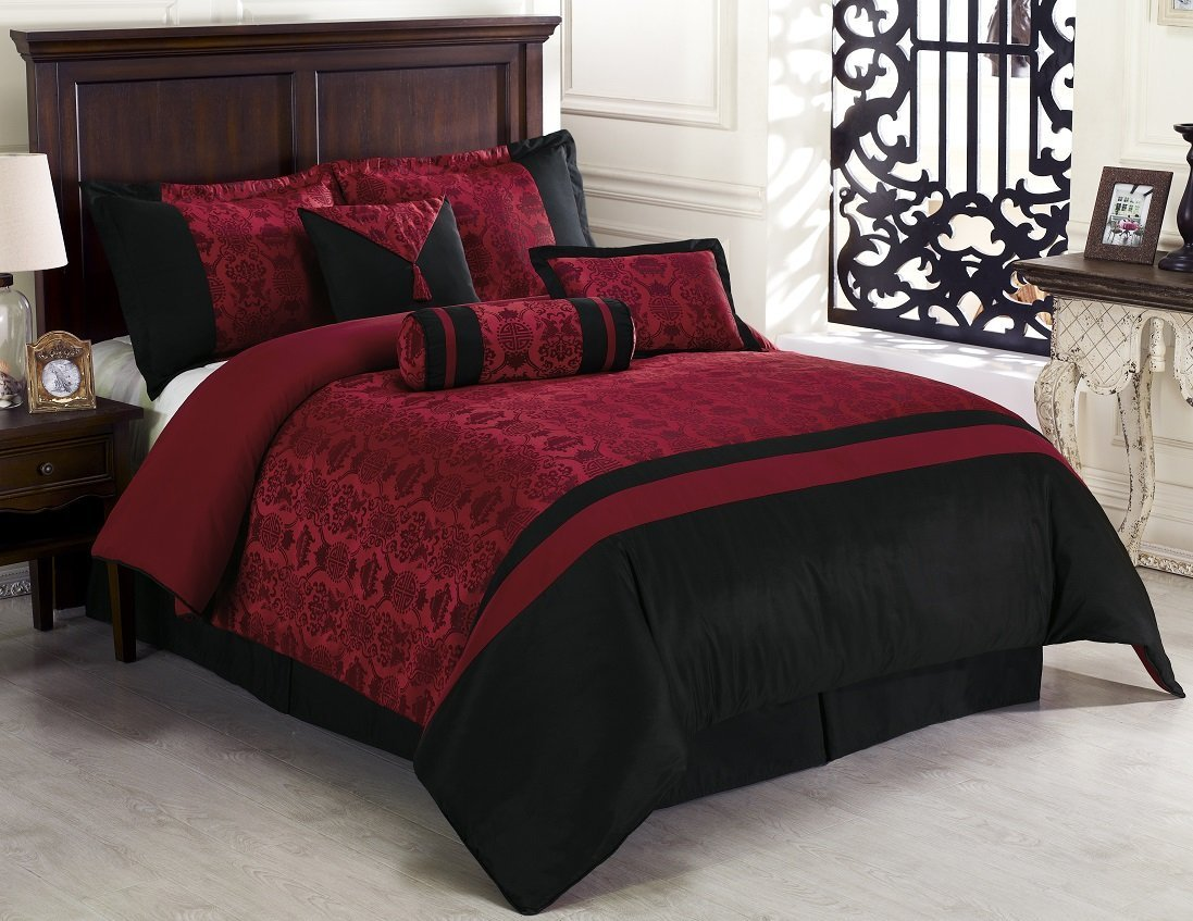 Asian Themed Dynasty Burgundy & Blackforter Bedding Set