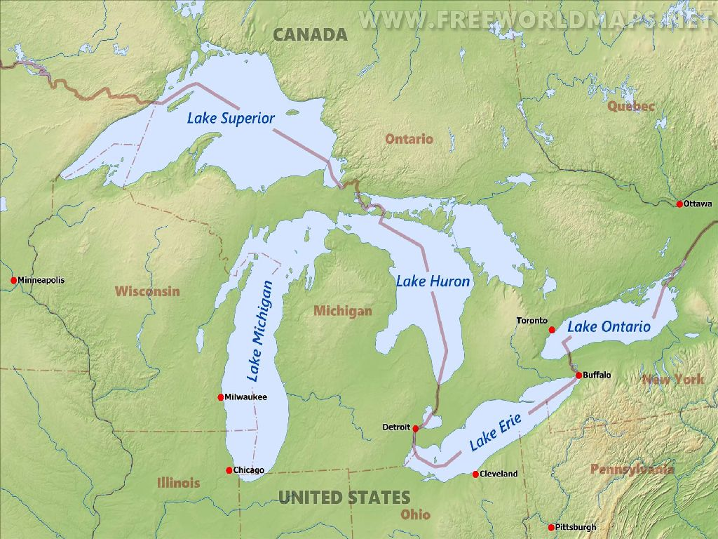 united states great lakes map