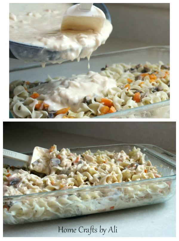 Add sauce and mix with pasta for rich and creamy casserole