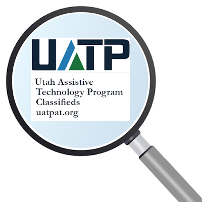 "magnifying glass over ""Utah Assistive Technology Program Classifieds,"" uatpat.org"