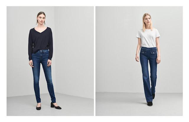 Девушки в темно-синих джинсах с потертостями