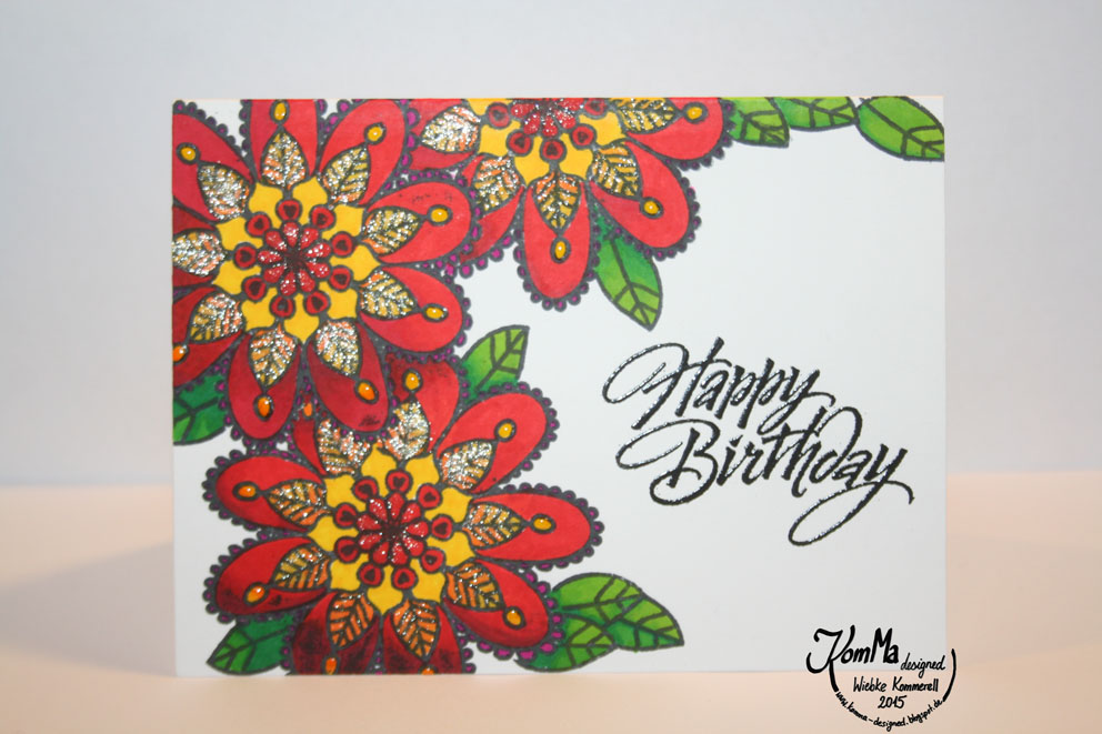 Alley Way Stamps Flower Doodles one-layer birthday card with stabilo markers and Hero Arts sentiment