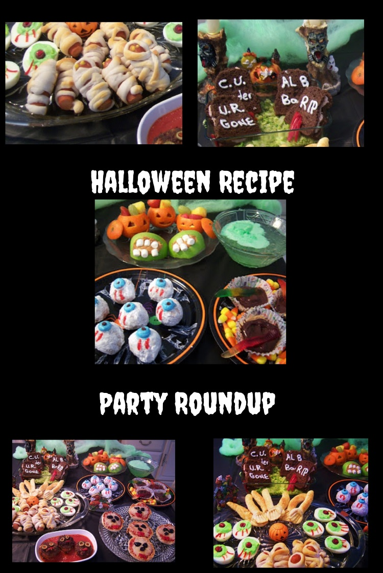 Halloween creative and fun foods like mummy hotdogs, deviled eye balls, graveyard sandwiches, witches brew, broomsticks english muffin ghoulish pizza, bloody meatballs, dirt pie with works, pumpkin heads