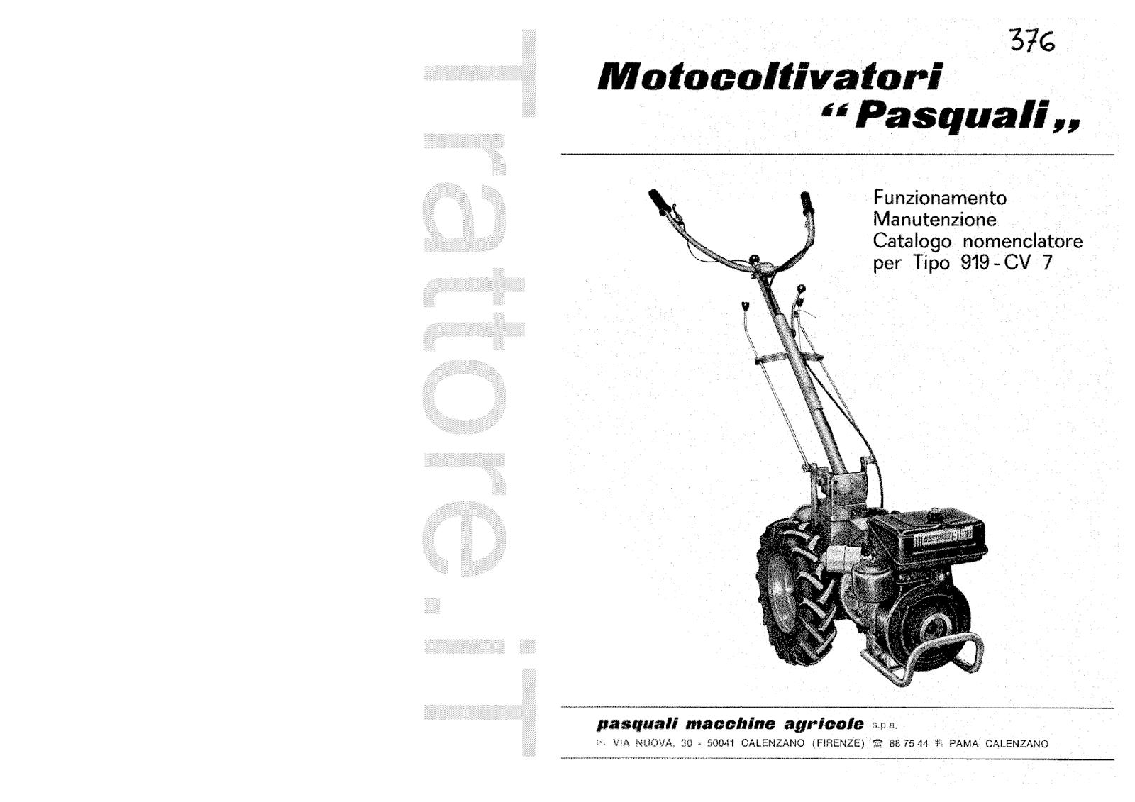 InfoTrattore.it: Motocoltivatore Pasquali 919 CV 7 manuale