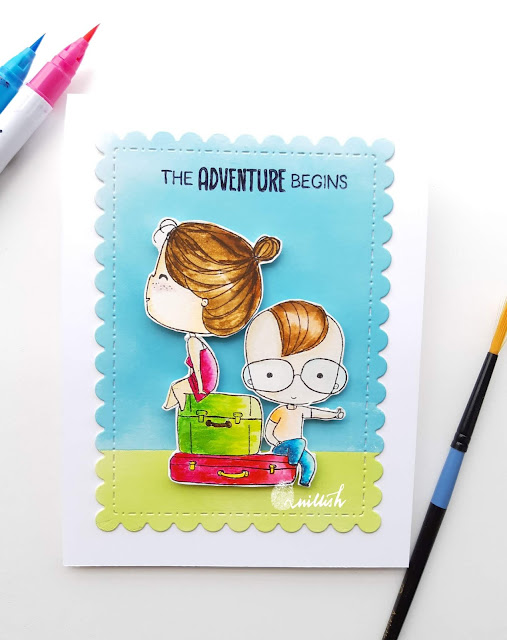 Brutus Monroe, Zig clean colour brush pens, water colouring, Brutus monroe Love suitcase stamp. cards by ishani, quillish, couple card, we are moving card, happy new home card