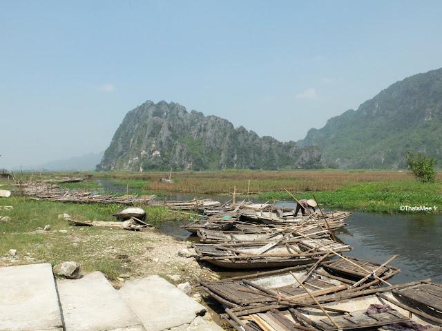 reserve van long ninh binh vietnam campagne baie halong terrestre bateau barque bambou sampan