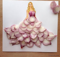 Arte con collage de comida - cebolla