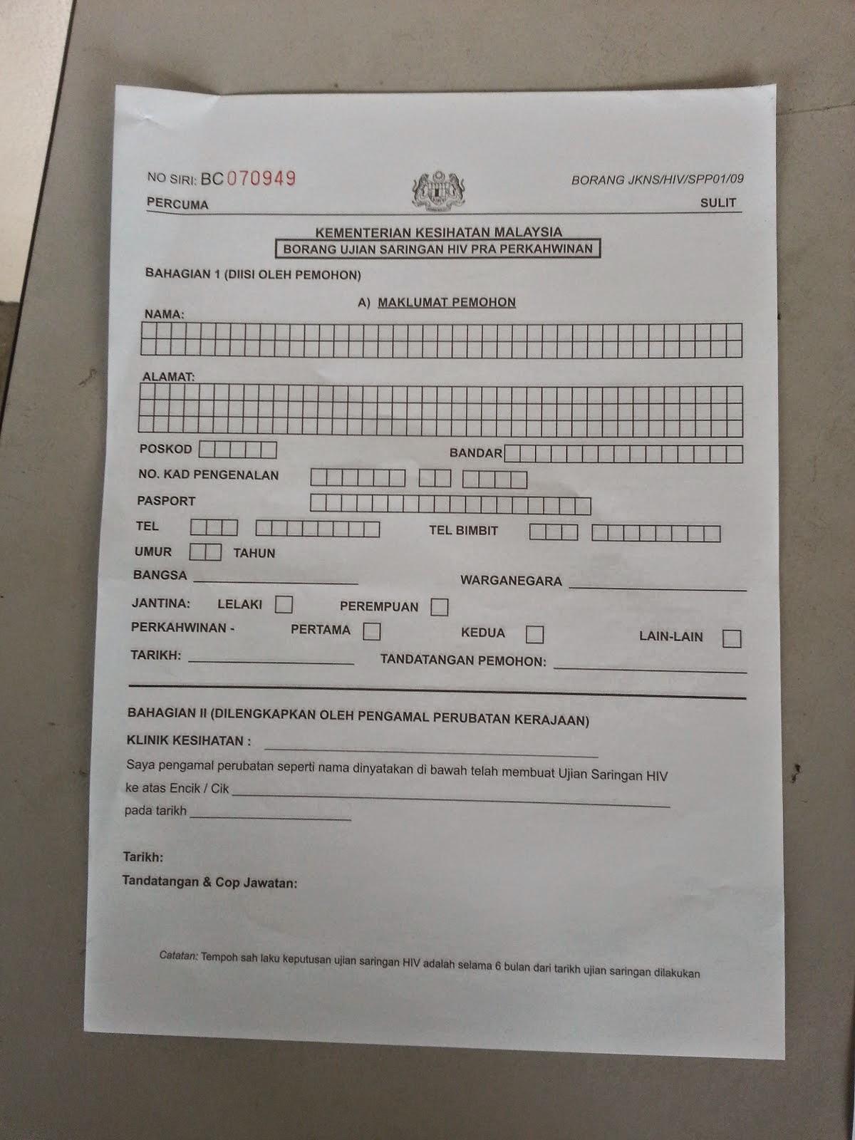 Bace Sini Ye Kat Sini Borang Saringan Hiv Test Cuitan Dokter
