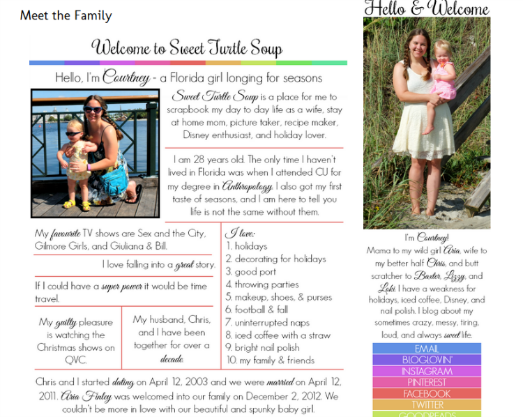 Sweet Turtle Soup's Meet the Family page