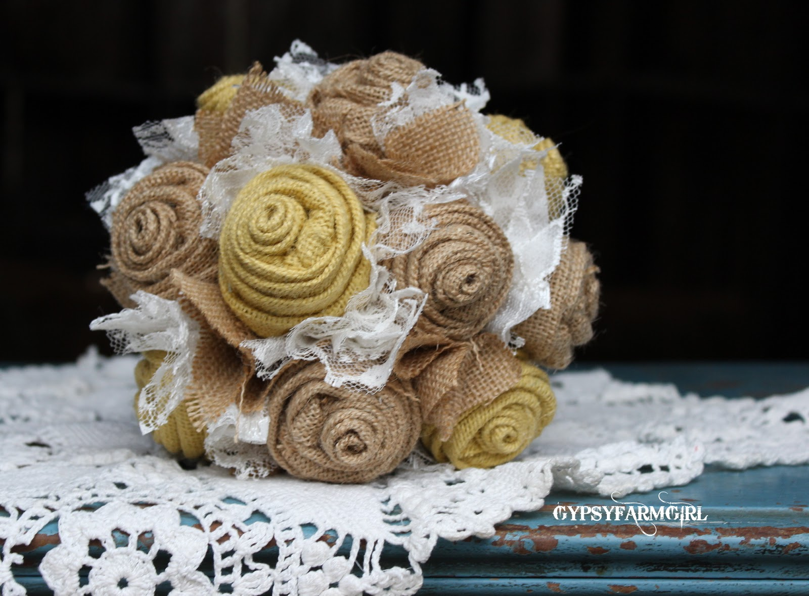 burlap bridesmaid bouquet