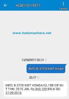 Cek Biaya Pajak mobil motor Wilayah Jawa Barat Via SMS