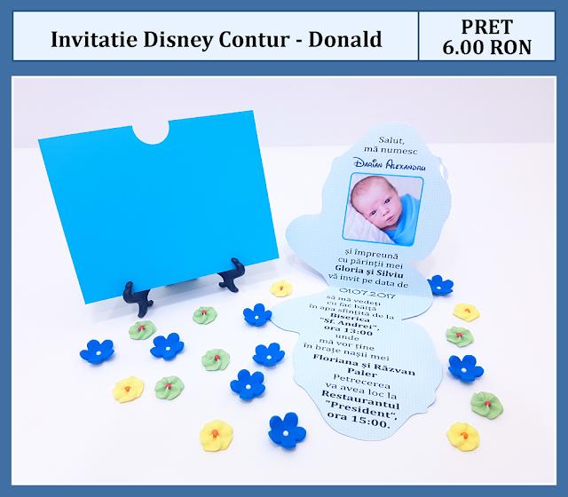 invitatii botez contur Donald