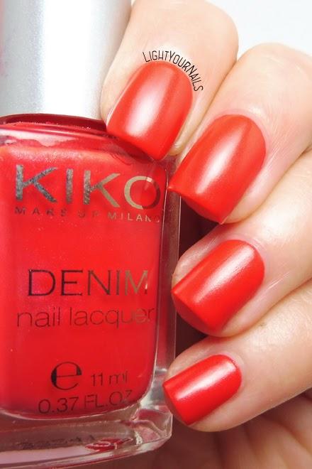 Smalto rosso semi mat Kiko 461 Art Poppy Red satin nail polish #kiko #unghie #nails #lightyournails