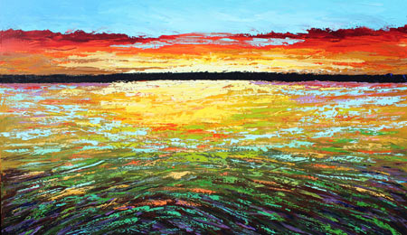 abstract modern impressionist acrylic sunset seascape or landscape