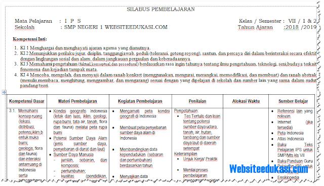 Silabus IPS Kelas 7 SMP/MTs Kurikulum 2013 Revisi 2018