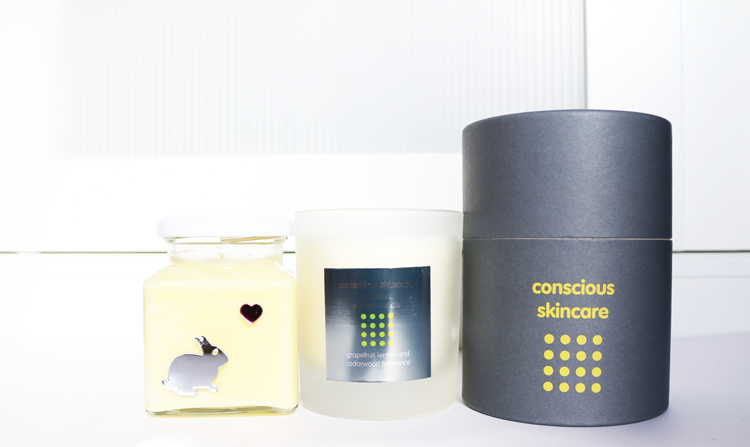 Flamingo Candles Bunny Kisses Easter Candle and Conscious Skincare Grapefruit, Lemon and Cedarwood Eco Candle