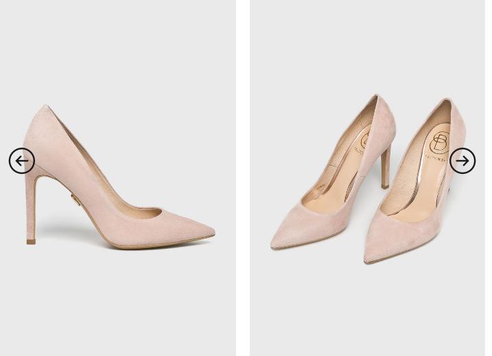Baldowski - Pantofi cu toc roz de ocazii din piele naturala de calitate