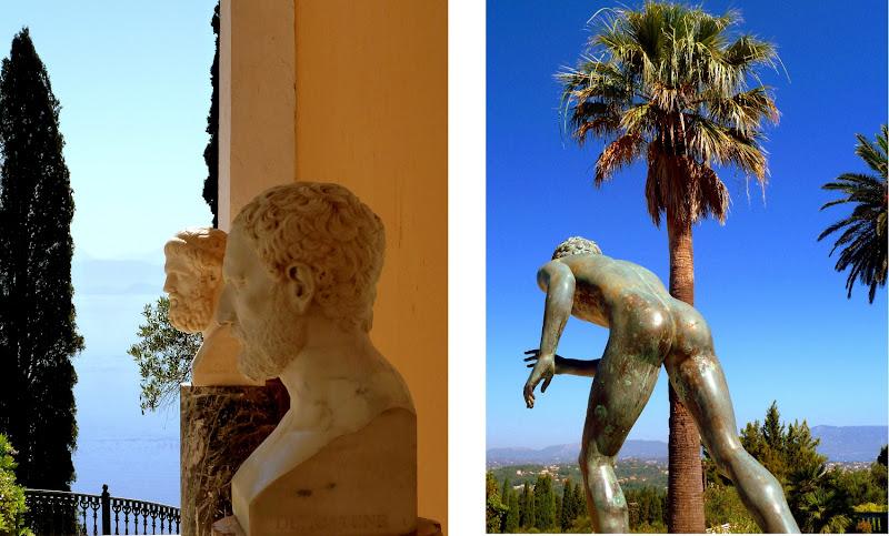 Büsten und Statuen im Park des Achilleion Palast Korfu