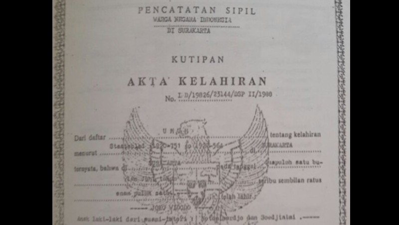 Akte lahir Jokowi