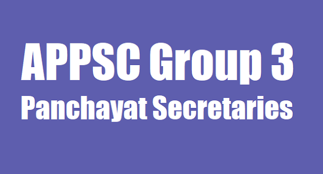 APPSC Group 3 Panchayat Secretaries,Hall tickets,Results
