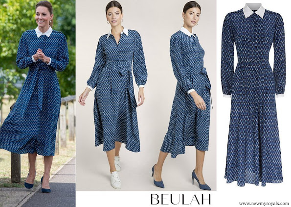 Kate Middleton wore Beulah London Shalini Micro Geo Floral Shirt Dress