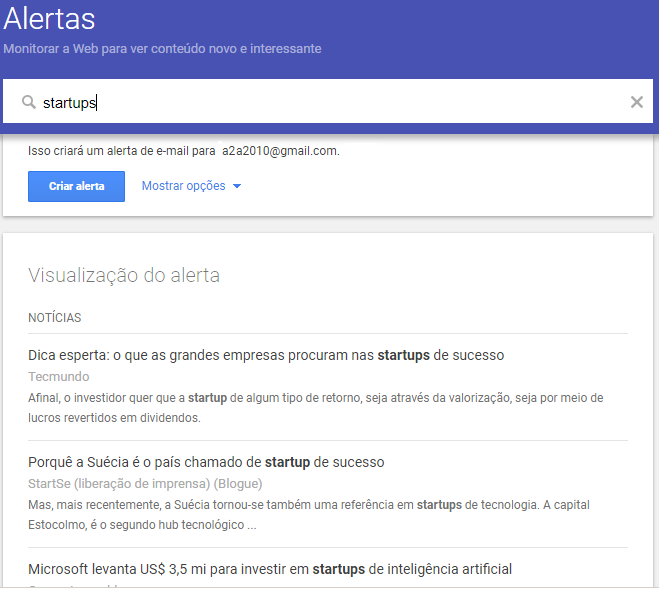 ferramenta online Google Alertas