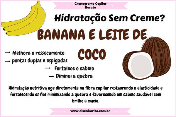 receitinha usando apenas banana e leite de coco