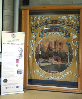 Michael Heaviside information banner next to Craghead Lodge banner (Photo by Durham County Record Office)