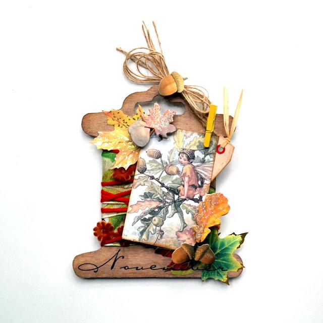 Fall Acorn Fairy Spool Tag by Dana Tatar for Gecko Galz
