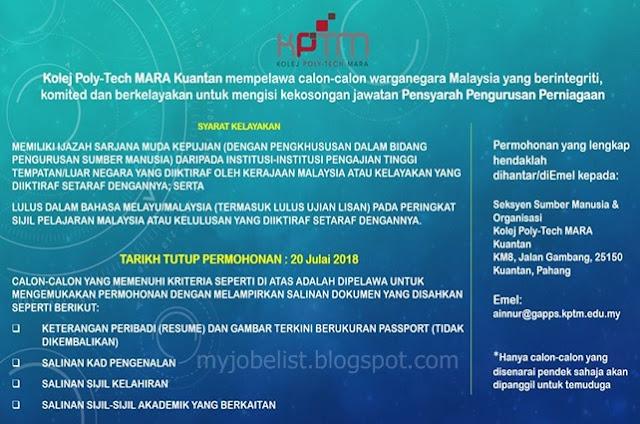 Jawatan Kosong di Kolej Poly-Tech MARA (KPTM) Julai 2018