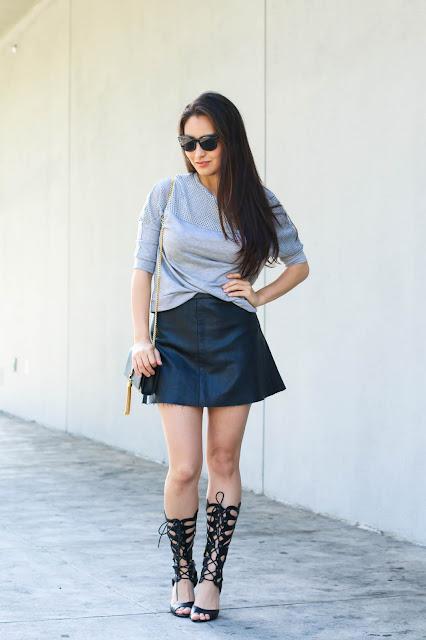 korean fashion blogger wears black gladiators