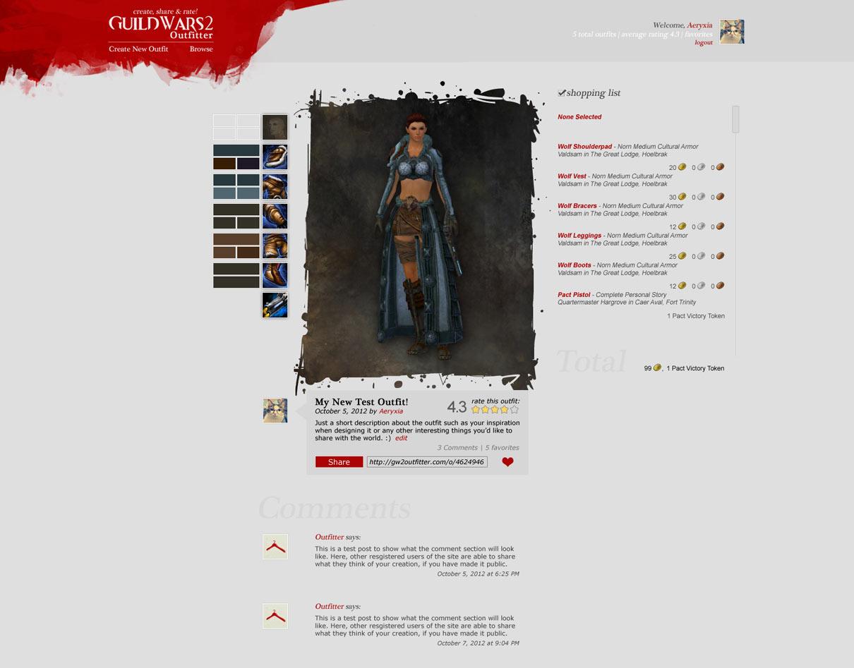 Guild Wars 2 Outfitter - Community Website Design Idea