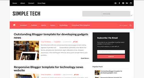 Simple Tech Blogger Template