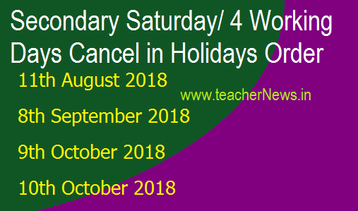 Second Saturday/ 4 Working Days Cancel in Holidays Order