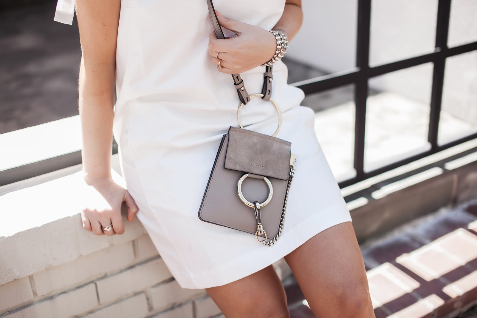 chloe bag, mini faye, chloe bracelet, bag, chloe, outfit, blogger, style, fashion, dc, blog, french connection, white dress, summer dresses, wedge, espadrille, sandals
