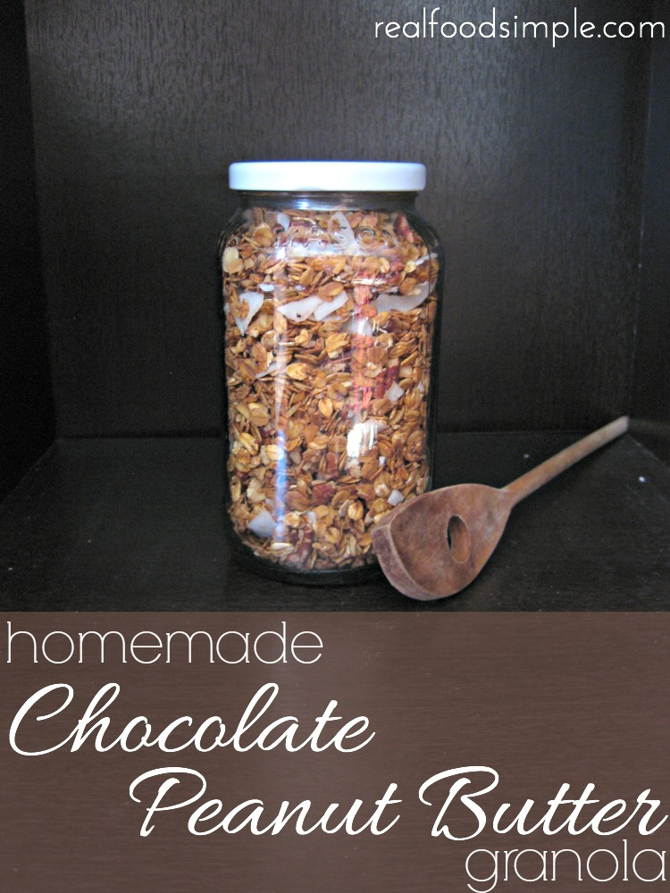 homemade chocolate peanut butter granola | realfoodsimple.com