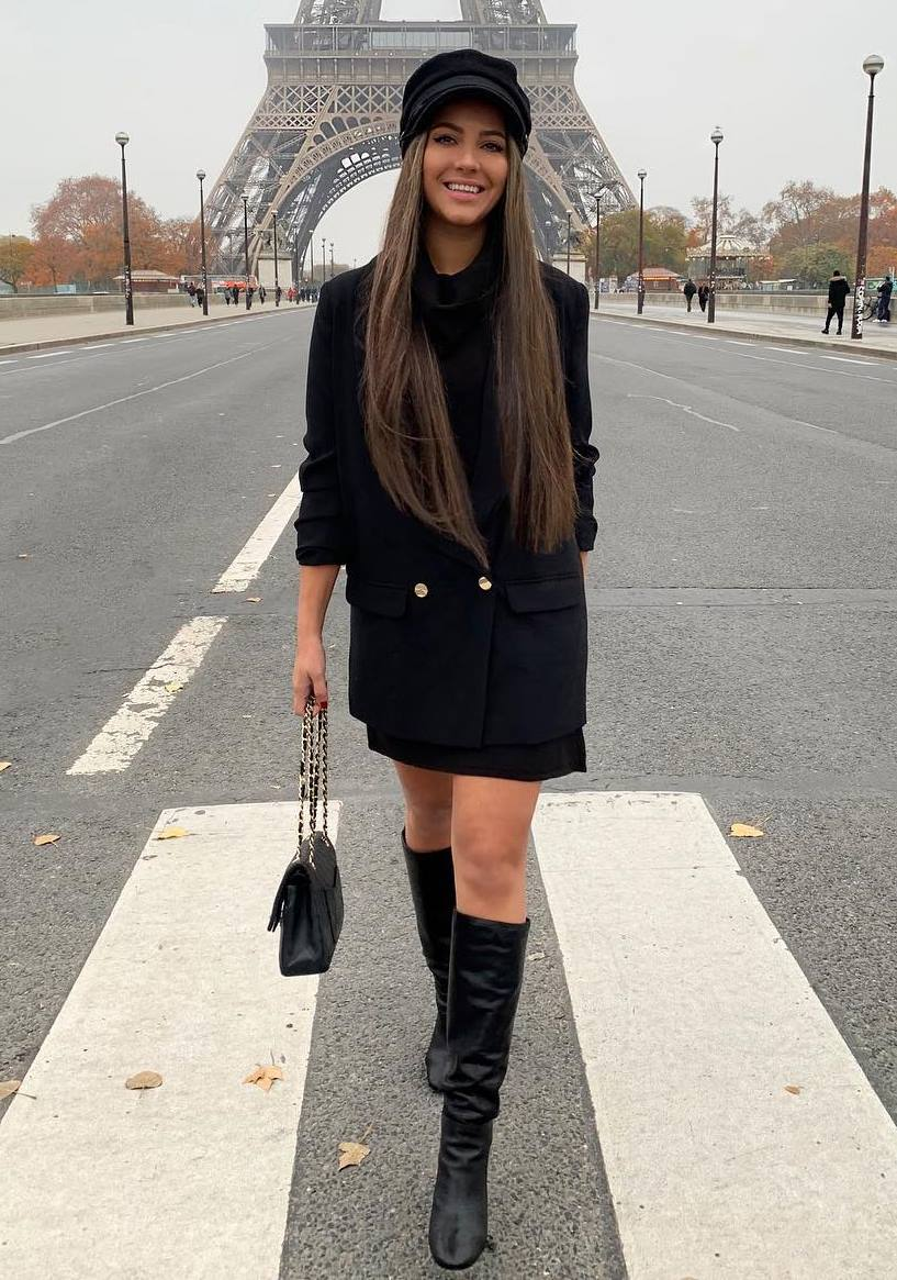 all black everything / bag + hat + blazer + dress + over knee boots