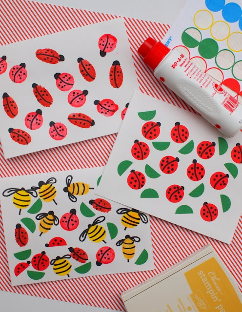 Easy Summer Kids Crafts- Bug Stamped and Printed Cards!