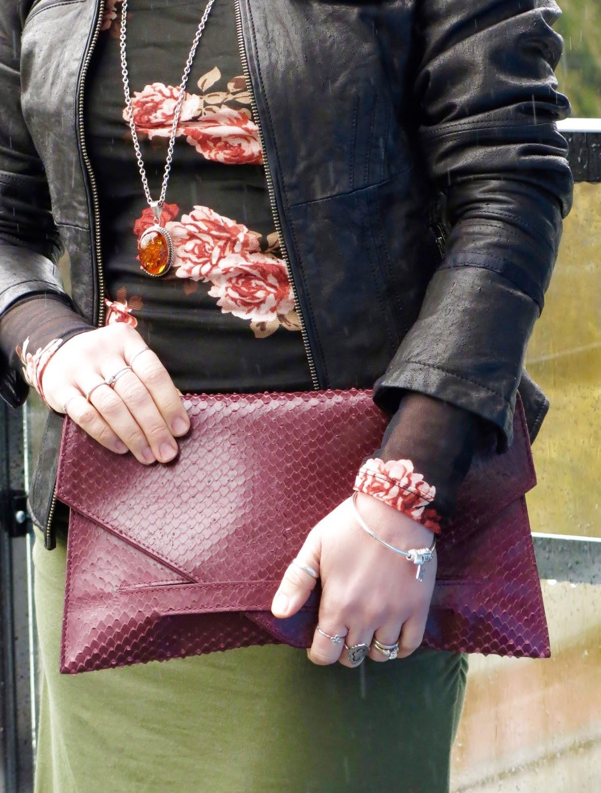 sheer floral top, Danier leather moto jacket, faux- snake clutch
