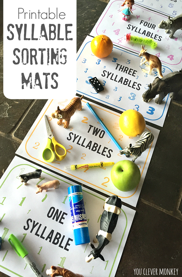 FREE Printable Syllable Sorting Mats | you clever monkey