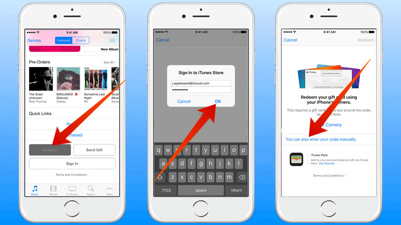 redeem itunes gift card on iphone